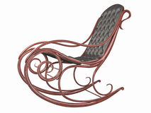Rocking chair with leather back and seat. Stock Image