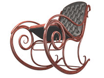 Rocking chair with leather back and seat. Stock Photo