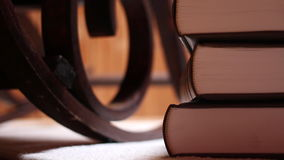 Rocking chair. And luxury books stock video footage