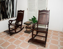 Rocking chair Made of wood In the area of the house Stock Photos