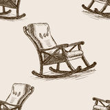 Rocking chair sketch  seamless pattern vector Royalty Free Stock Photography