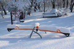 Rocking chair snowfall Stock Image