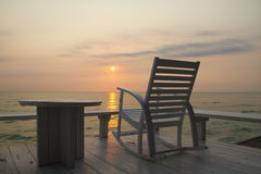 Rocking Chair at the terrace, Sunrise Royalty Free Stock Image