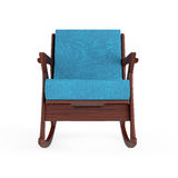 Rocking Chair Upholstered with Blue Cloth. 3d Rendering. Rocking Chair Upholstered with Blue Cloth on a white background. 3d Rendering Stock Photos