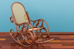 Rocking chair on the wooden floor, 3D rendering. Rocking chair on the wooden floor, 3D Stock Image