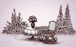 Rocking chair in the yard. Vector drawing Stock Photography