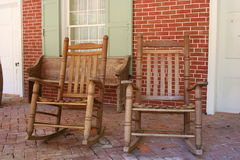Rocking Chairs. Two Rocking Chairs on a Porch Stock Photo