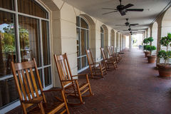 Rocking Chairs on a Long Tile Porch Stock Photography