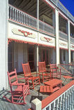 Rocking chairs on porch of Victorian home, the Sea Mist Apartments in Cape May, Stock Image