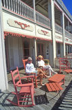 Rocking chairs on porch of Victorian home, Sea Mist Apartments in Cape May, NJ Stock Photos