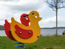 Rocking duck on the playground royalty free stock photos