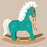 Rocking Horse. Illustration of teal rocking horse toy with white mane and tail Stock Images