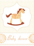 Rocking horse baby shower card Royalty Free Stock Photography