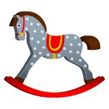 Rocking horse. children s toy. classic wooden swing.  illustrations Stock Image