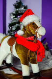 Rocking horse at Christmas Stock Photos