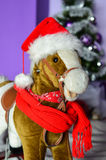 Rocking horse at Christmas Stock Images