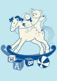 Rocking horse and friends. Vector illustration of a rocking horse with a teddy bear and rabbit Stock Photography