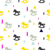 Rocking horse gray, pink and yellow kid pattern. Royalty Free Stock Image