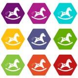 Rocking horse icon set color hexahedron Royalty Free Stock Photos