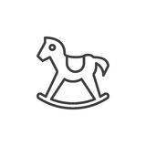 Rocking horse line icon, outline vector sign Royalty Free Stock Photos
