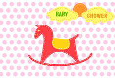 Rocking horse on red dot backgrounds,Design of baby shower cards Royalty Free Stock Photos