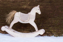 Rocking Horse in the snow Stock Photography