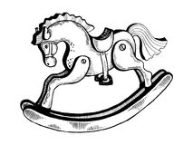 Rocking horse toy engraving vector illustration Royalty Free Stock Images