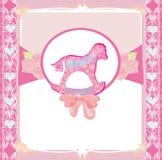 Rocking Horses - baby girl baby shower invitation card Royalty Free Stock Photography