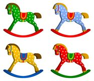 Rocking horses set. children s toy. classic wooden swing.  illustrations Royalty Free Stock Photos