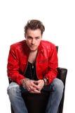Rocking man in leather jacket Stock Photos
