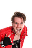 Rocking man in leather jacket Stock Images