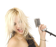 Rocking singer and microphone Royalty Free Stock Photo
