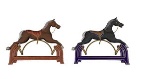 Rocking toy horses - 3D render. Rocking toy horses isolated in white background - 3D render Royalty Free Stock Photo