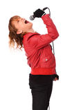 Rocking woman in a red leather jacket Stock Photography
