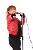 Rocking woman in a red leather jacket Stock Photos