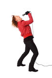 Rocking woman in a red leather jacket Stock Photo