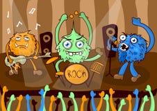 Rockkonzertmusikband von Karikaturmonstern vector Illustration lizenzfreie abbildung