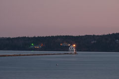 The Rockland Breakwater Lighthouse at sundown Royalty Free Stock Image
