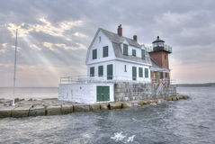 Rockland Harbor Breakwater Lighthouse Stock Image
