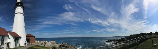Rockland maine usa lighthouse oceanfront panorama. There is famouse lighthouse in the Rockland, state Maine , USA, panorama from oceanfront point , where ships Stock Photography