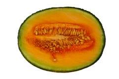 Rockmelon or cantaloupe half. Isolated on white background Stock Images