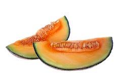 Rockmelon or cantaloupe qaurter. Isolated on white background Royalty Free Stock Photo