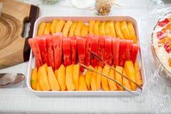 Rockmelon y sandía Imagen de archivo libre de regalías