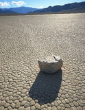 Rockmotion. Arock moving across the Racetrack Playa in Death Valley National Park, California stock images