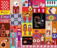 Rockmusik-Collage lizenzfreie abbildung