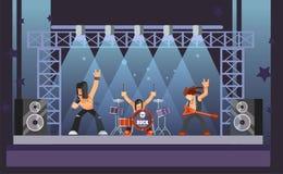 Rockmusik oder Rocker versehen die Ausführung am Stadium mit Gitarristen mit einem Band vektor abbildung