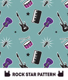 Rockmusik-Stern-nahtloser Muster-Vektor-Hintergrund Stockfotos