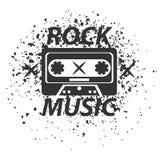 Rockmusikbandschwarz-Weißfirmenzeichen Klassische alte Weinlesekassette lizenzfreie abbildung