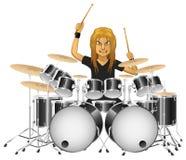Rockmusikerschlagzeuger spielt berühmt die Trommeln lizenzfreie abbildung
