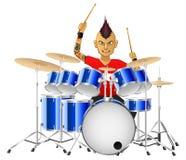 Rockmusikerschlagzeuger spielt berühmt die Trommeln stock abbildung
